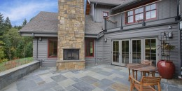 Patio remodel with exterior fireplace on Vashon Island