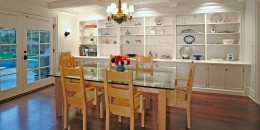 Dining room remodel with custom cabinetry to display dishes and antiques