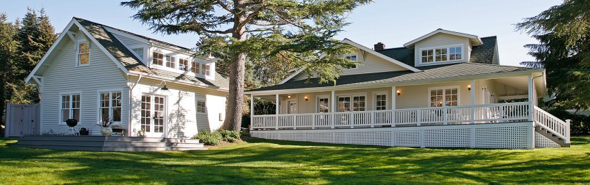 Exterior of newly remodeled Quartermaster Harbor house on Vashon Island, WA